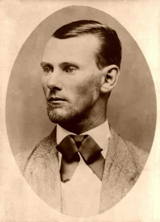 Sepia tone image of Jesse James