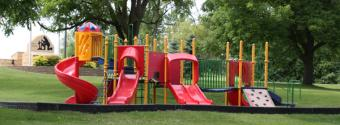 Image of a children's playground with slides in Hirdler Park