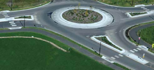 Arial view of a roundabout .