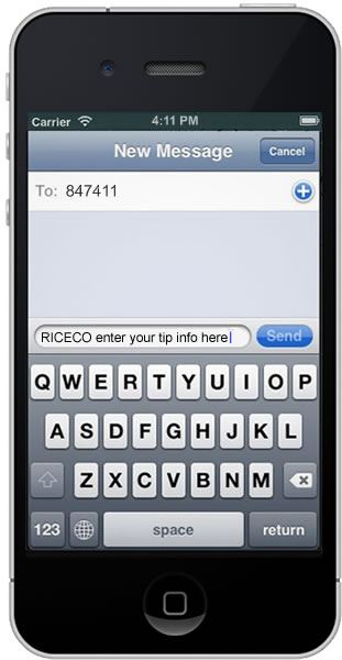 iPhone with text message being sent to 847411