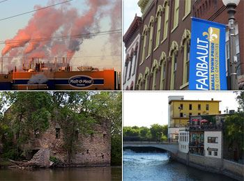 Collage of several buildings including a factory, a brick building, a stone building on the river.