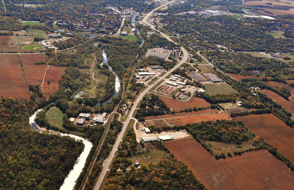 Arial view of the Rice County landscape including roads and rivers.