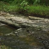 Image of a rocky ledge in the creek flowing with water