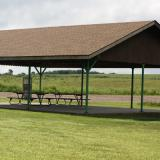 Image of the picnic pavilion from the front with picnic table