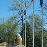 Image of the Never Forgotten memorial and flags