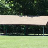 Image from the side of the exterior of the picnic pavilion in the meadow