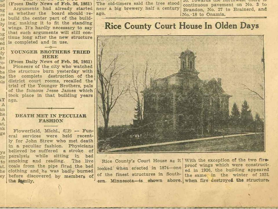 Image of Newspaper Clipping - Rice County Courthouse in Olden Days Article