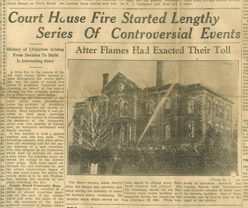 Newspaper clipping of the fire at Courthouse Series of Events