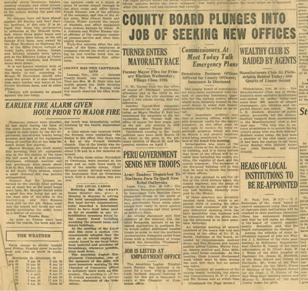 Newspaper clipping with County Board News from Thursday, February 26, 1931