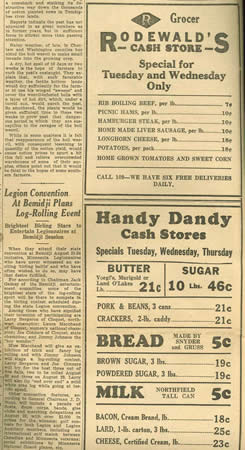 Clipping of Handy Dandy Cash Store Grocery Ads - Monday, July 25, 1932, with bread and milk, butter and sugar
