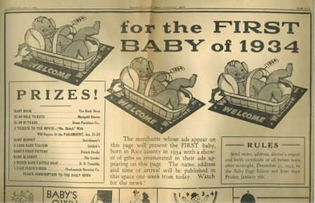 Newspaper clipping for the New Years Baby Prizes - Monday, January 1, 1934