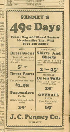 Newspaper clipping of a JCPenney's ad, with 49 cent days