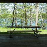Image of a picnic table in the shady picnic pavilion