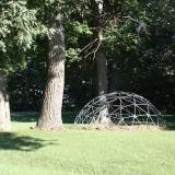 Image of a metal domed jungle gym in a meadow